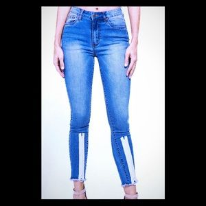High Rise Color Zipper Detail Skinny Jeans